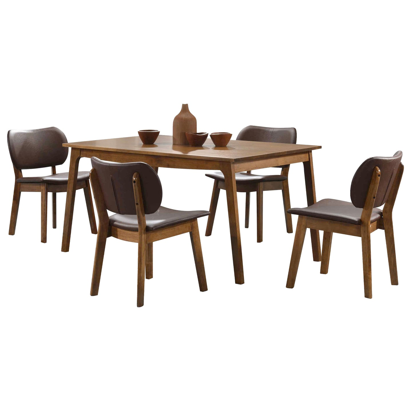 Wright 5 Piece Brown Faux Leather Walnut Wood Dining Set
