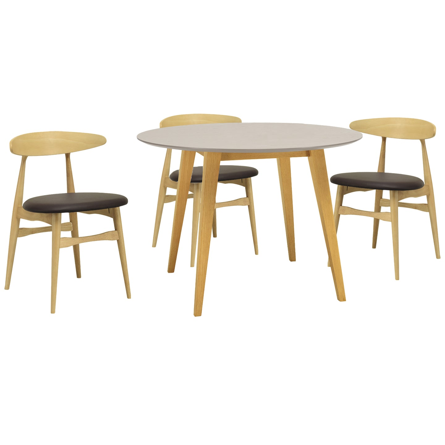 Ava 5 Piece Dining Set Natural Mocha
