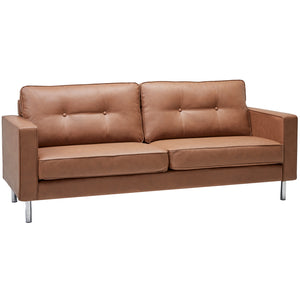 Ibiza Modern Tan Faux Leather Sofa