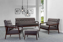 Copenhagen Contemporary Faux Leather Brown Sofa