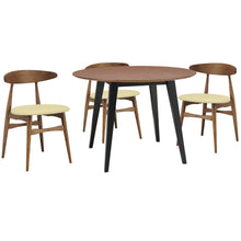 Ava 5 Piece Dining Set Black Cream