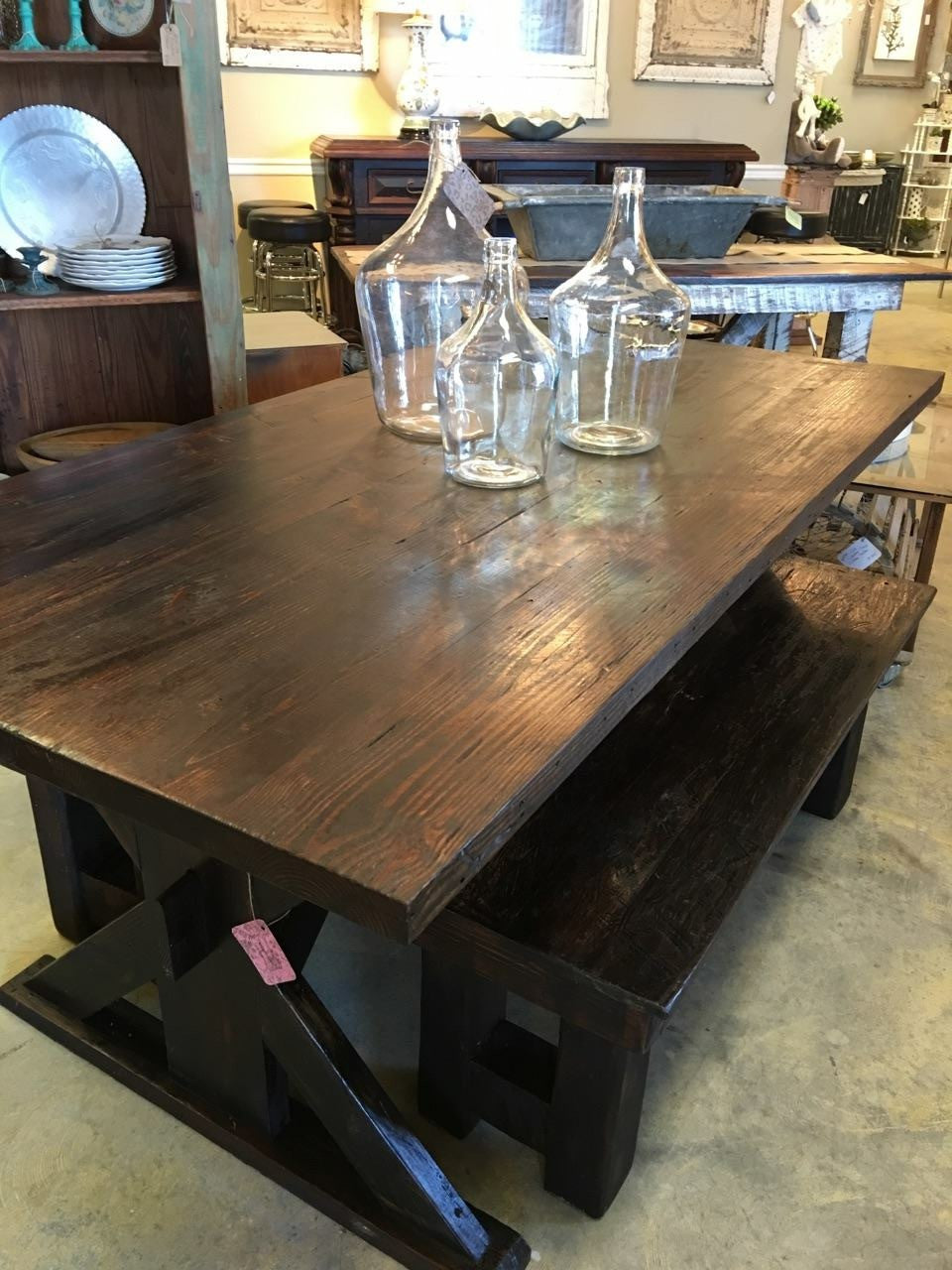 Trestle Farm Table With 2 Matching Benches