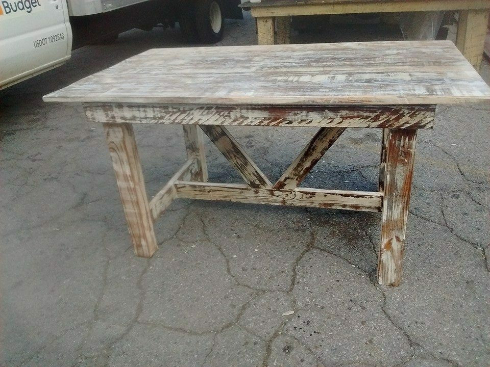 Truss Beam Farm Table With Matching Benches