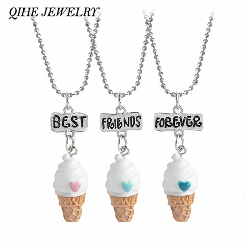 3pc/set Hand Stamped Best Friends Forever  Ice-cream Pendant Necklace - SquishyWishy