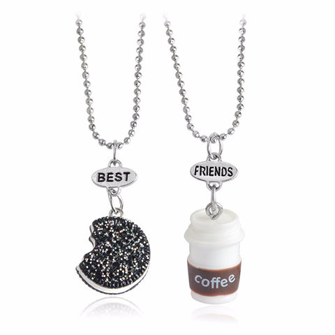 2pcs/set Kawaii Cookie & Coffee Best Friend Miniature Food Necklace Oreo Round Resin Alloy Souvenir Gift Female - SquishyWishy