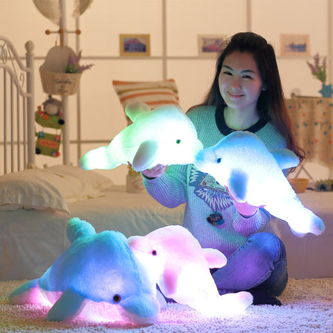 Colorful Dolphin plush Pillow With LED Light - SquishyWishy
