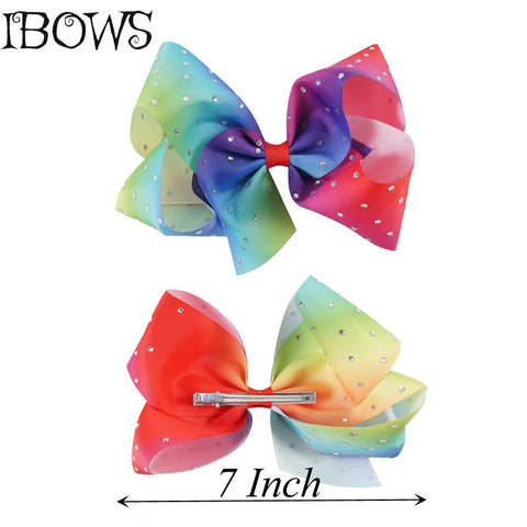 Rainbow with Diamond Rhinestones 7 in Big Hair Bow - SquishyWishy