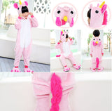 4-12Y Girls Boys Winter Children unicorn Flannel Animal pajamas