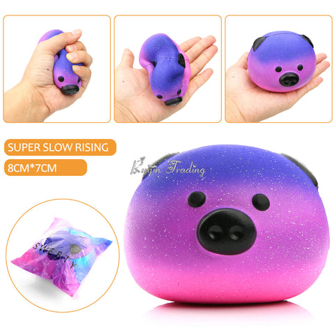 Jumbo Kawaii Emoji Face Pink and Purple Pig Squishy - SquishyWishy