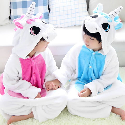 Blue Pink Kawaii Anime Unicorn Hoodie Pajamas - Children - SquishyWishy