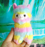 Rainbow Kawaii Alpaca Plushy - SquishyWishy