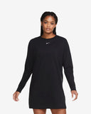 W NSW ESSNTL DRESS LS - BLACK/WHITE