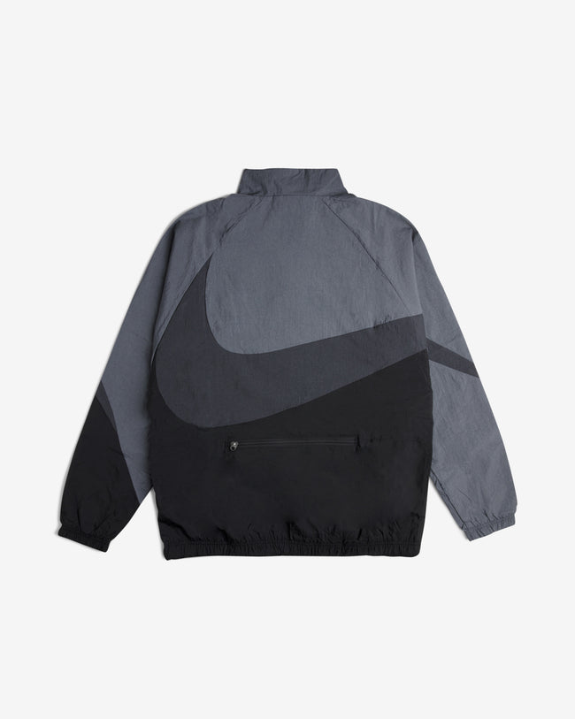 NSW SWOOSH WOVEN HALF ZIP JACKET - BLACK