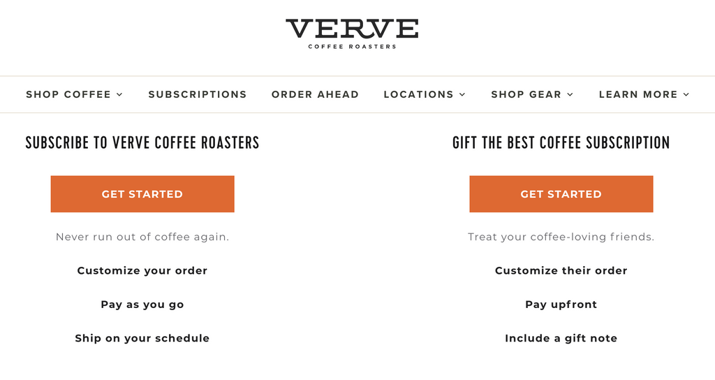 Verve Coffee Gift Subscription option