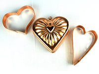 Large Heart Copper Cookie Cutters and Heart Jello Mold - ChaseyBlueVintage