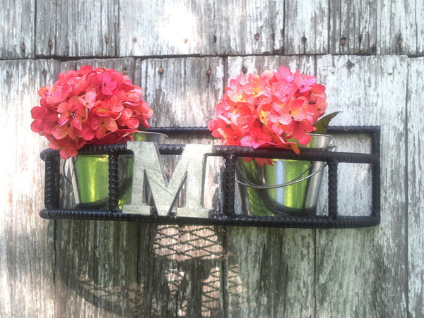 Rebar Window Sill Plant Holder Rounded 1/2 Moon Design Optional Monogram Initial - ChaseyBlueVintage