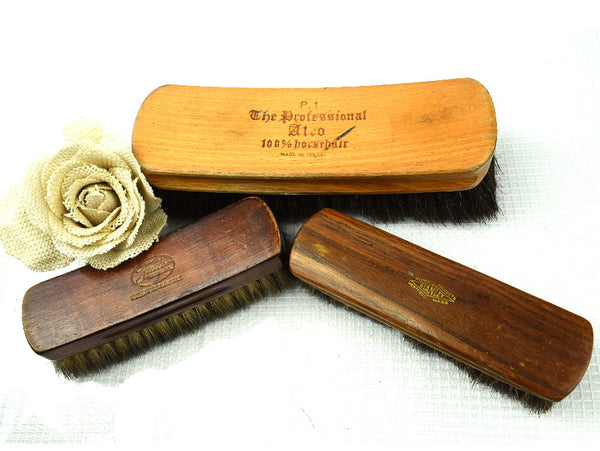 3 Vintage Premium Shoe Shine Brushes Stanley Fuller and Atco The Professional - ChaseyBlueVintage