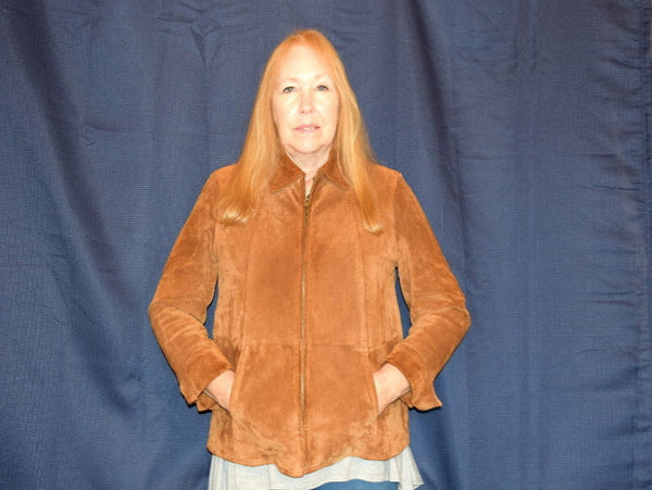 Vintage Leather Suede Jacket with Zip Up Front Hip Length Size Petite Medium - ChaseyBlueVintage