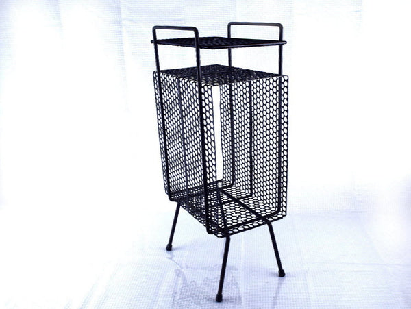 Art Deco Black Metal End Table Telephone Magazine Rack
