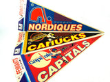 Vintage NHL Hockey Pennants Quebec Nordiques, Vancouver Canucks, Washington Capitals - ChaseyBlueVintage