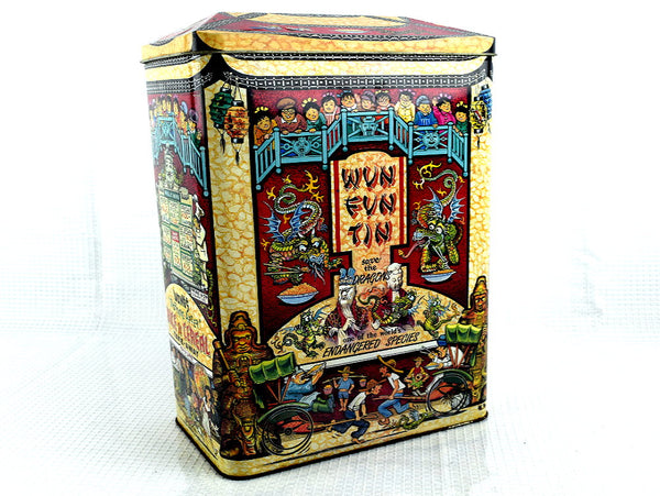 Vintage Cereal Box Tin with Hinged Lid Wun Fun Tin Save the Dragons - ChaseyBlueVintage