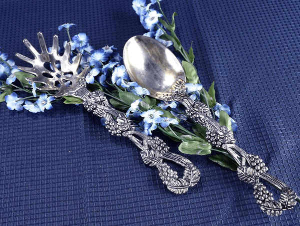 Vintage Silver Plated Pasta and Spoon Serving Set Ornate Grapevine Handles by Godinger - ChaseyBlueVintage