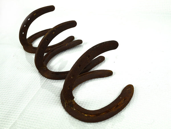 Set of 3 Rusty Vintage Horseshoe Wall Hooks Used Authentic Shoes - ChaseyBlueVintage