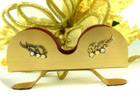 Vintage Brass Eye Glass Holder with Rhinestone Eyelash Embellishment Vanity Eyeglass Stand - ChaseyBlueVintage
