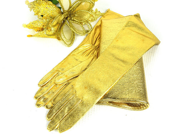 Vintage Gold Clutch Purse Evening Bag with Matching Mid Length Gloves - ChaseyBlueVintage