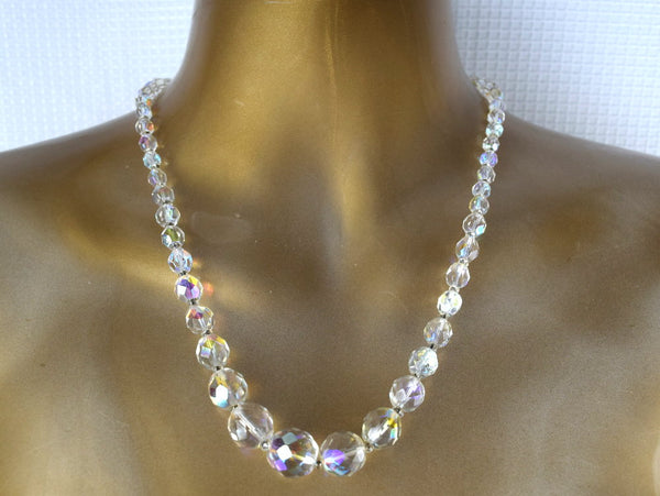 1950s Bridal Set Crystal Beaded Necklace Matching Clip On Earrings - ChaseyBlueVintage