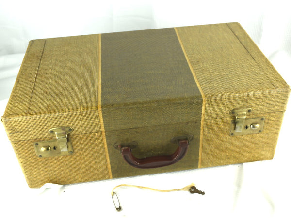 Vintage Suitcase Tweed Striped Antique Travel Case with Floral Paper Interior - ChaseyBlueVintage