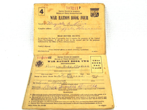 Pair of WW II War Ration Books 2 and 4 with Rationing Stamps Inside