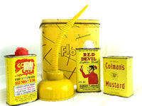 Vintage Yellow Tin Collection of 5 Old Kitchen and Garage Tins - ChaseyBlueVintage