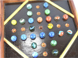 Vintage Marble Game Wood Playing Board Solitaire Hi-Q Includes 32 Old Glass Marbles - ChaseyBlueVintage