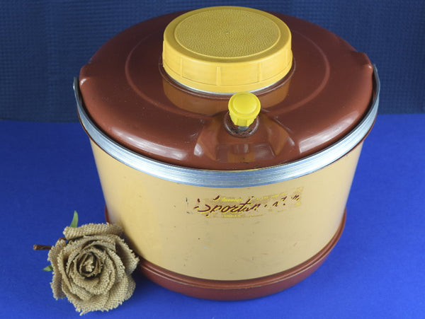 Mid Century Sportsmaster Cooler One Gallon Jug Insulated Hot Cold Beverage Thermos Enamel Lined - ChaseyBlueVintage