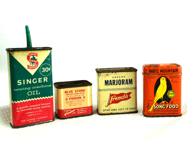 Colorful Old Household Tins Collection of 4 - ChaseyBlueVintage