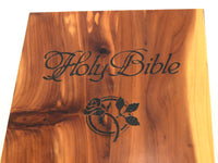 Vintage Cedar Wood Bible Storage Box with Black Engraved Lettering and Rose - ChaseyBlueVintage