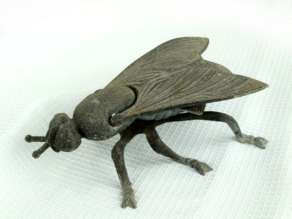 Antique Metal Fly Ashtray Cigarette Ash Tray - ChaseyBlueVintage