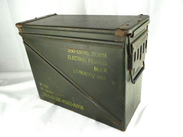 Vintage Large Metal Military Ammo Box Held Small Arms Ammunition - ChaseyBlueVintage
