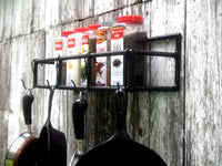 Rebar Pot and Pan Rack with Rectangular Shelf Industrial Handmade Decor - ChaseyBlueVintage