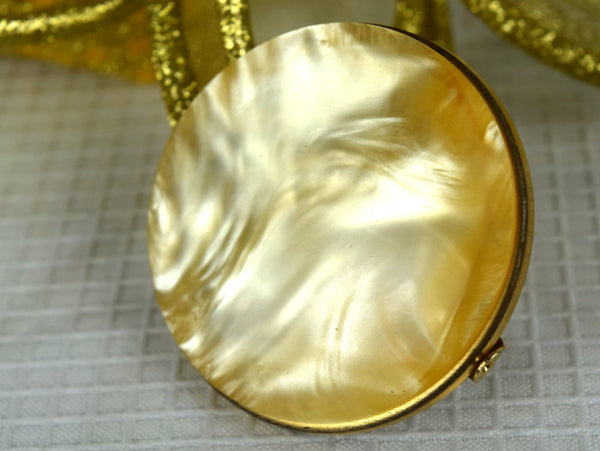 Vintage Lipstick Holder with Round Mirror and Swirled Champagne Lucite Front - ChaseyBlueVintage