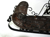 Vintage Metal and Wicker Sled Santas Sleigh Christmas Decor - ChaseyBlueVintage