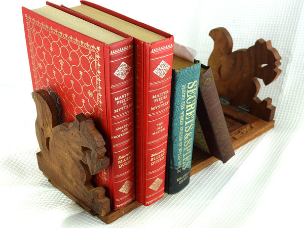 Hand Carved Squirrel Bookends Expandable Mid Century Book Stand India Solid Wood - ChaseyBlueVintage