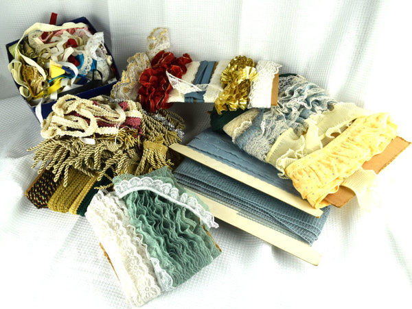 Large Lot of Sewing Trim Lace Fabric Upholstery Edging - ChaseyBlueVintage