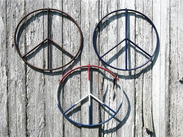 20 Inch Rebar Peace Sign Metal Wall Hanging Home Patio Decor - ChaseyBlueVintage