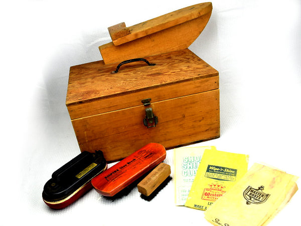 Vintage Shoe Shine Kit Unique Hand Made Wood Box 2 Brushes Plus Buffers - ChaseyBlueVintage