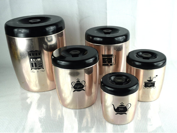 Vintage West Bend Canister Set 5 Piece Kitchen Counter Canisters - ChaseyBlueVintage