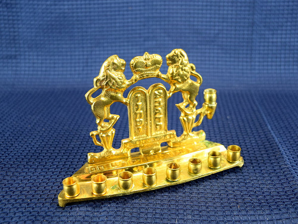 Vintage Brass Menorah Candle Holder 2 Lions of Judah Made in India - ChaseyBlueVintage