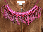 Vintage Leather Fringed Necklace Dark Pink with Beads - ChaseyBlueVintage