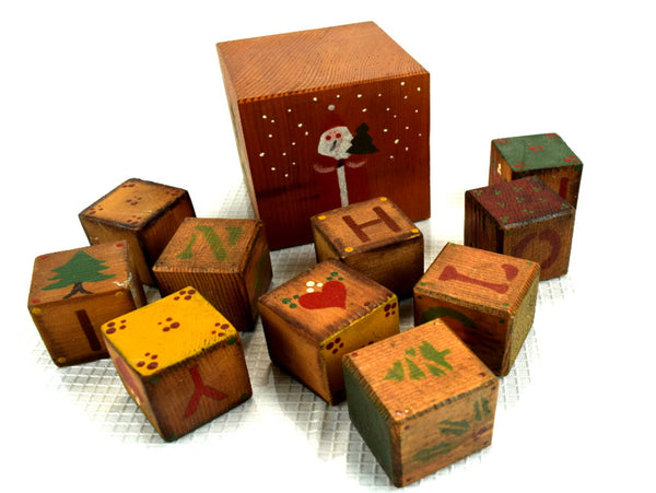 Retro Christmas Wood Blocks Hand Painted - ChaseyBlueVintage